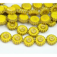 Yellow Gold Inlay Czech Glass Beads, 12mm Two-Hole Sunflower