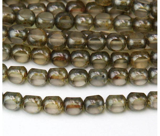 Transparent Luster Czech Glass Beads, 7x8mm Antique Table Cut