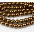 Bronze Patina Olivine Czech Glass Beads, 8mm Round