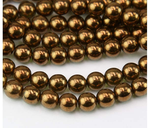 Bronze Patina Olivine Czech Glass Beads, 8mm Round
