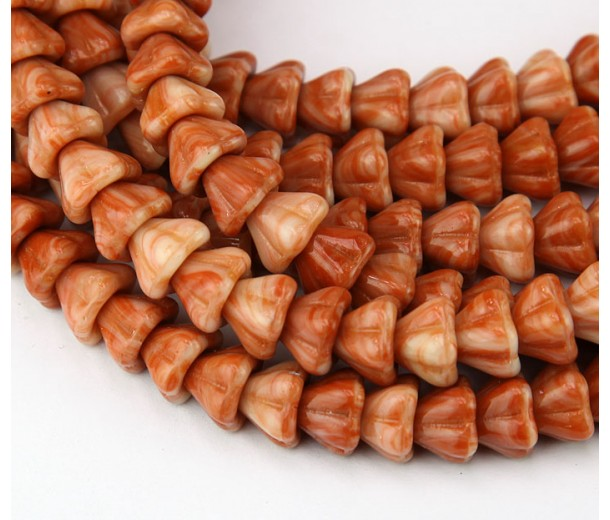 Caramel Orange Czech Glass Beads, 8x6mm Bell Flower