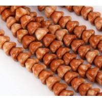 Caramel Orange Czech Glass Beads, 8x6mm Bell Flower