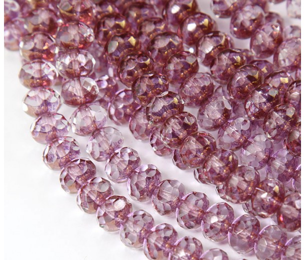 Crystal Copper Czech Glass Beads, 9x6mm Rondelle