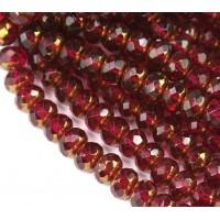Fuchsia Copper Czech Glass Beads, 9x6mm Rondelle