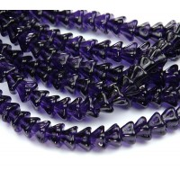 Deep Violet Czech Glass Beads, 8x6mm Bell Flower