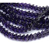 Deep Violet Czech Glass Beads, 8x6mm Bell Flower