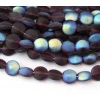 Matte Amethyst AB Czech Glass Beads, 8mm Flat Coin