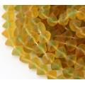 Matte Topaz Green Czech Glass Beads, 9x7mm Shell, Pack of 25