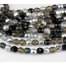 Dusk Mix Czech Glass Beads, 6mm Faceted Round