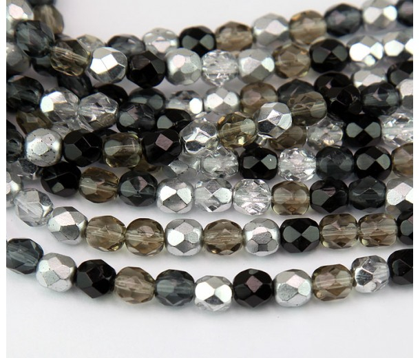Dusk Mix Czech Glass Beads, 6mm Faceted Round