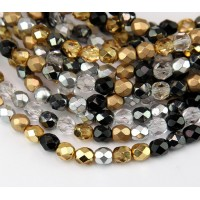 Art Deco Mix Czech Glass Beads, 6mm Faceted Round