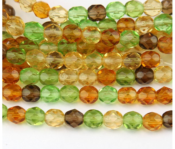 Tropical Mix Czech Glass Beads, 8mm Faceted Round, 7 Inch Strand