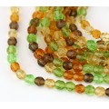 Tropical Mix Czech Glass Beads, 6mm Faceted Round