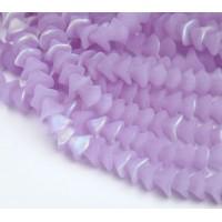Matte Alexandrite AB Czech Glass Beads, 10x12mm Three Petal Flower
