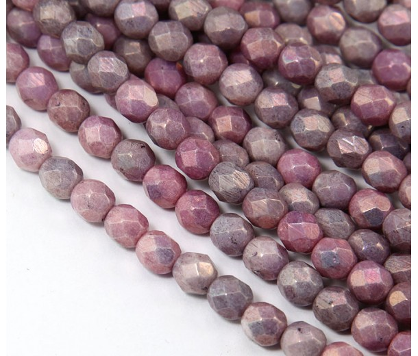 Opaque Amethyst Luster Czech Glass Beads, 6mm Faceted Round