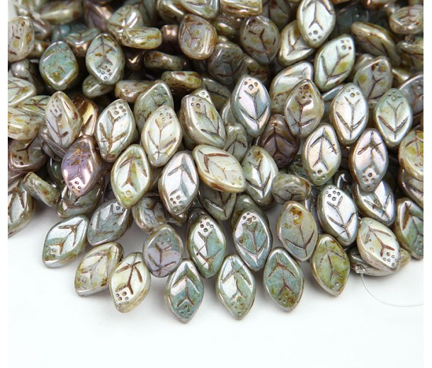 Opaque Green Luster Czech Glass Beads, 12x7mm Flat Leaf