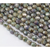 Opaque Green Luster Czech Glass Beads, 6mm Faceted Round