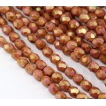 Opaque Rose Gold Topaz Luster Czech Glass Beads, 6mm Faceted Round