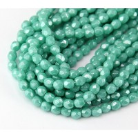 Opaque Turquoise Luster Czech Glass Beads, 4mm Faceted Round