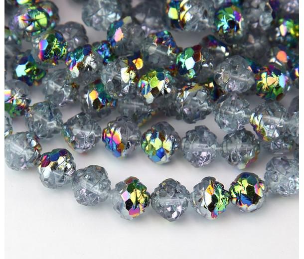 Alexandrite Vitrail Czech Glass Beads, 8mm Rosebud