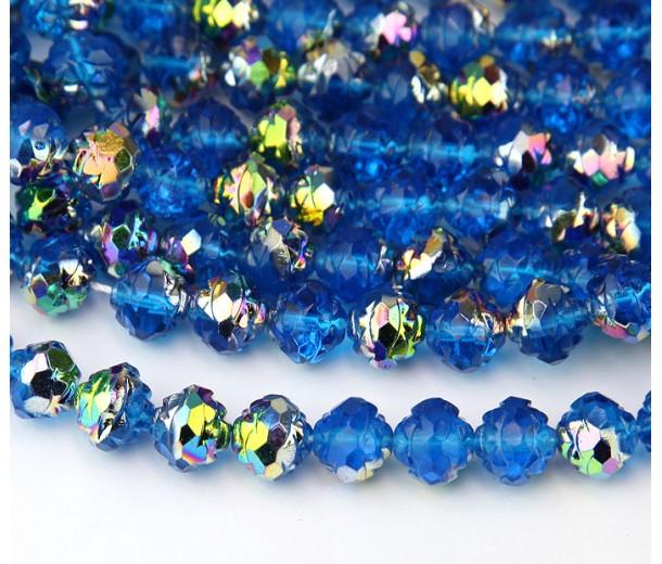 Capri Blue Vitrail Czech Glass Beads, 8mm Rosebud