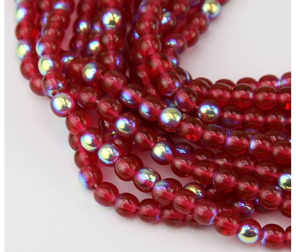 Cranberry Red AB Czech Glass Beads, 5mm Round