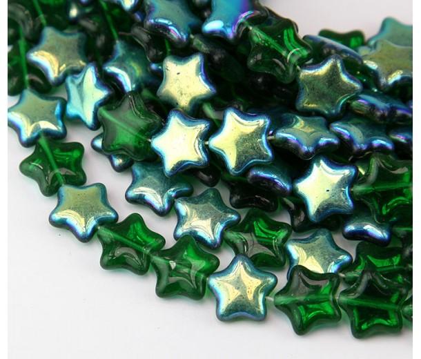 Green AB Czech Glass Beads, 12mm Flat Star