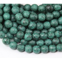 Dark Turquoise Stone Picasso Czech Glass Beads, 8mm Round