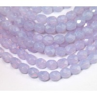Milky Violet Czech Glass Beads, 6mm Faceted Round