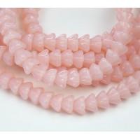 Light Pink Opal Czech Glass Beads, 8x6mm Bell Flower