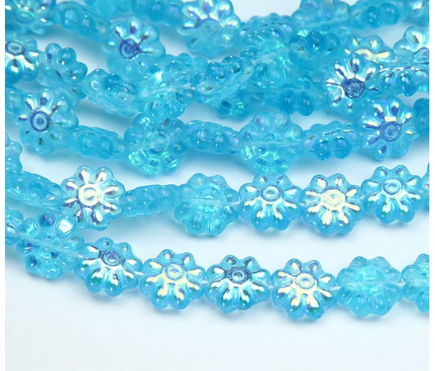 Aquamarine AB Czech Glass Beads, 9mm Daisy Disk Flower