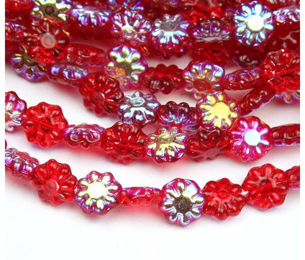 Siam Red AB Czech Glass Beads, 9mm Daisy Disk Flower