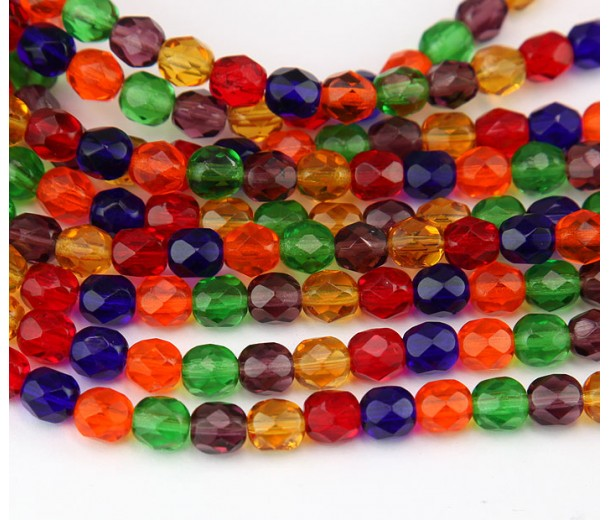 Bright Mix Czech Glass Beads, 6mm Faceted Round
