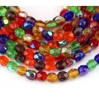 Bright Mix AB Czech Glass Beads, 6mm Faceted Round