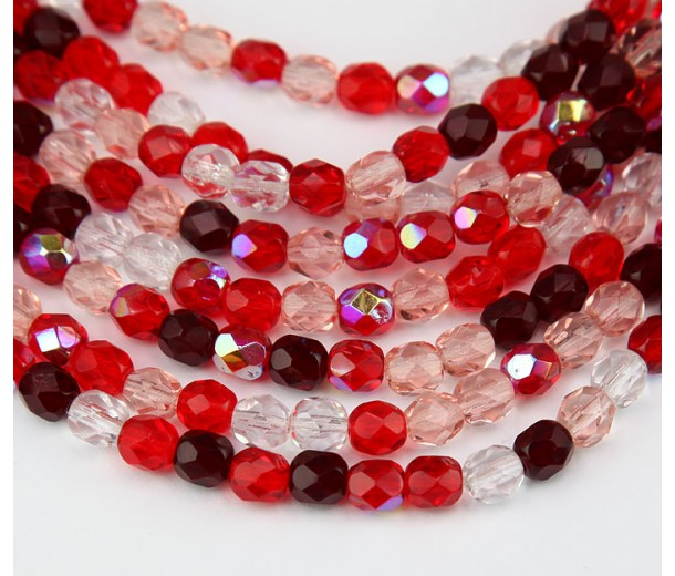 Valentine Mix Czech Glass Beads, 6mm Faceted Round