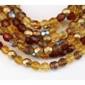 Topaz Mix Czech Glass Beads, 6mm Faceted Round