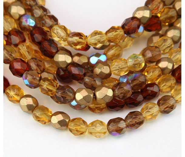 Topaz Mix Czech Glass Beads, 6mm Faceted Round