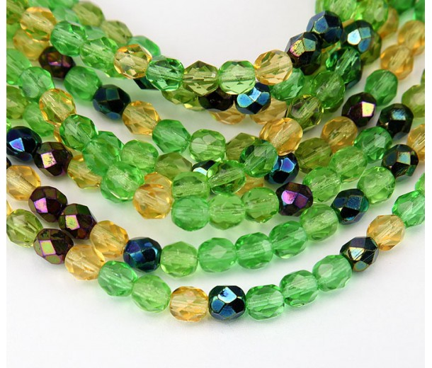 Spring Mix Czech Glass Beads, 6mm Faceted Round