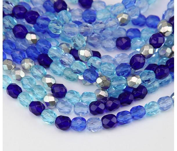 Sky Blue Mix Czech Glass Beads, 6mm Faceted Round