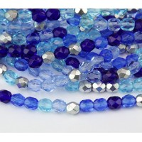 Sky Blue Mix Czech Glass Beads, 6mm Faceted Round