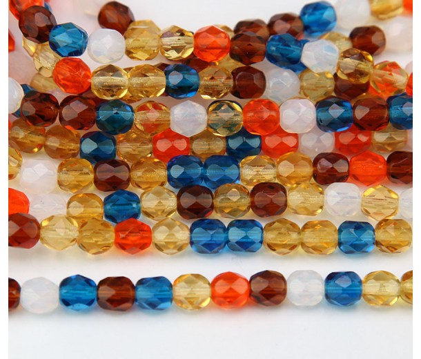 Sunrise Mix Czech Glass Beads, 6mm Faceted Round