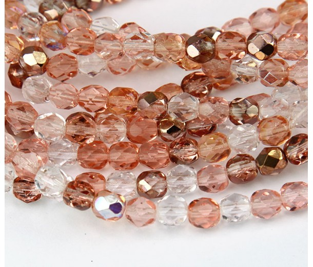 Rosebud Mix Czech Glass Beads, 8mm Faceted Round
