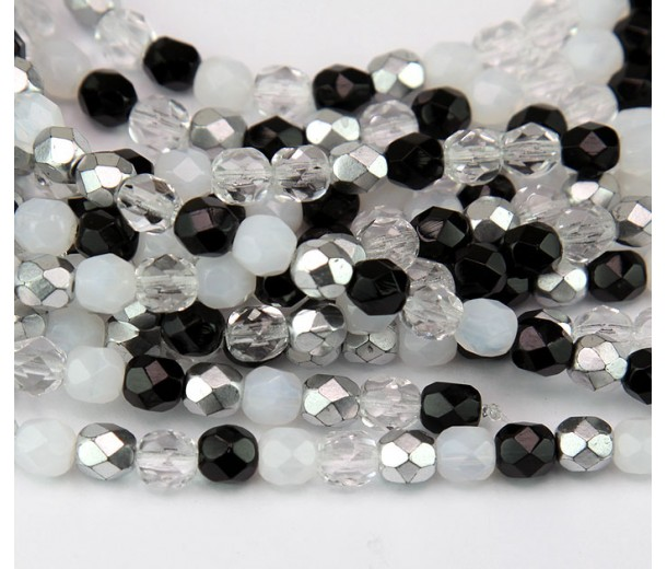 Domino Mix Czech Glass Beads, 6mm Faceted Round