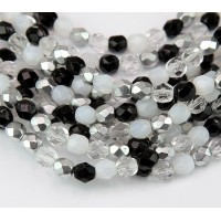 Domino Mix Czech Glass Beads, 8mm Faceted Round