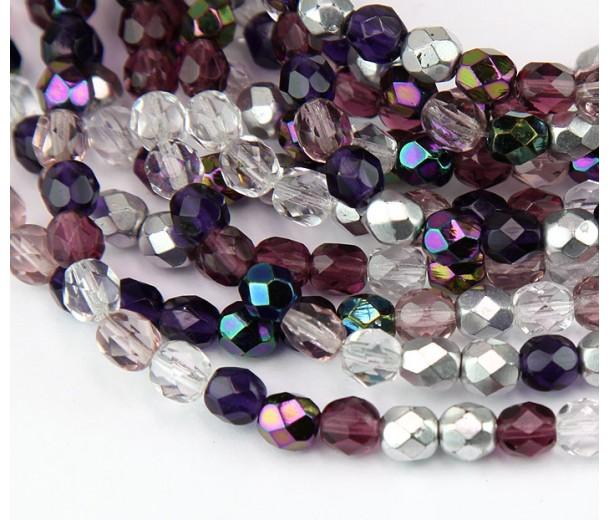 Sugar Plum Mix Czech Glass Beads, 6mm Faceted Round