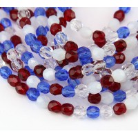 July 4th Mix Czech Glass Beads, 6mm Faceted Round