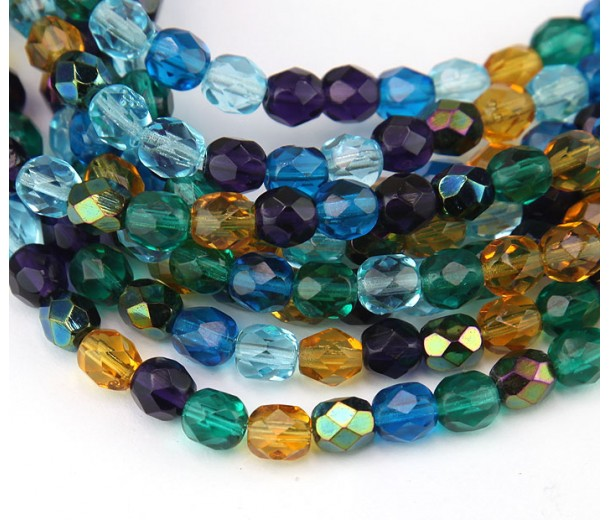 Peacock Mix Czech Glass Beads, 6mm Faceted Round