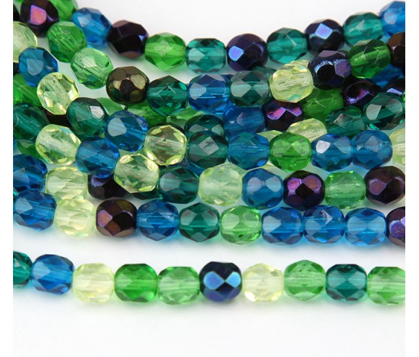 Pacific Mix Czech Glass Beads, 8mm Faceted Round