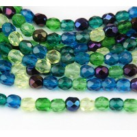Pacific Mix Czech Glass Beads, 6mm Faceted Round