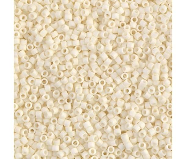 11/0 Miyuki Delica Seed Beads, Matte Cream, 6.6 Gram Tube